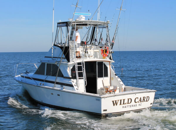 Picture of transom shows that Wild Card is an extremel well maintained boat with lots of open deck space for the entire family plus a clean custom salon for your group's protection from the sun and weather.