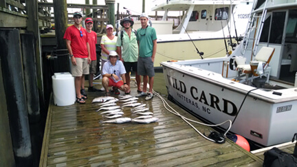 This makeup charter group enjoyed a half day near shore trip during their vacation stay at Southern Shores NC.