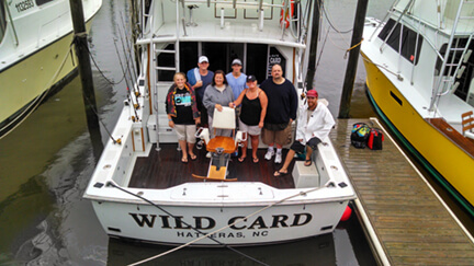 This family group posed on the deck of Wild Card on their vacation in Duck NC