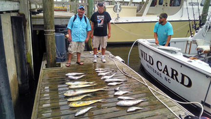 Two anglers from a makeup group share charter stand behind their catch of a mixed bag of fish after their trip while vacationing in Manteo NC.