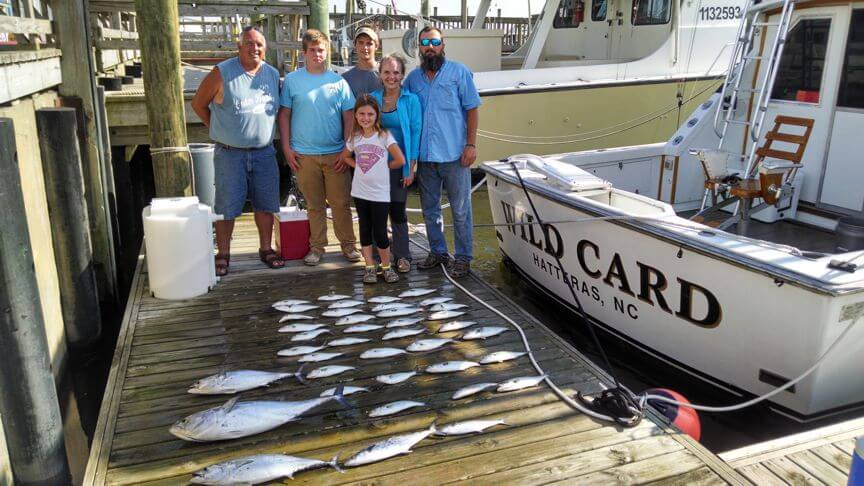 When the offshore fishing slows we often stop outside the Oregon Inlet and load up on schooling Spanish mackerel and bluefish like we did for this group vacationing in Manteo NC.