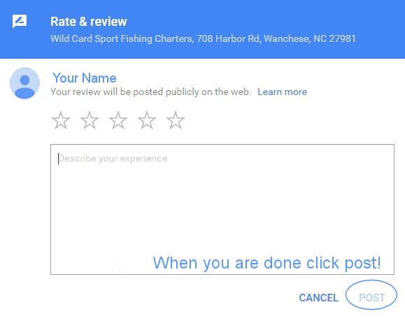 Google Review for Wild Card Sport Fishing Charters